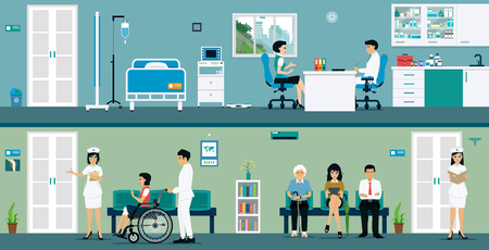 Examination rooms where doctors and patients waiting for service. Illustration