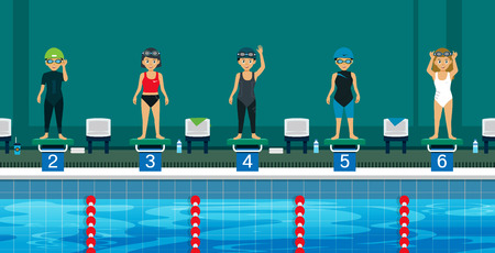 competitions: Swimmer on the starting line sporting swim. Illustration