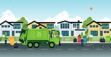 거리에서 쓰레기를 사용하는 쓰레기 트럭.
