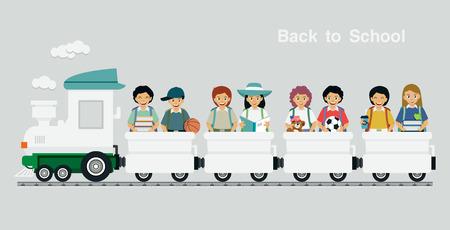 I bambini cavalcano un treno con testo tornato a scuola come sfondo.