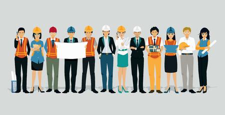 Ingénieurs et architectes avec un fond gris.