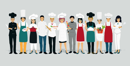 Chef men and women in uniform with gray background.