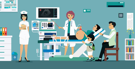 Doctor Ultra Sound pregnant women for the safety of the unborn child.