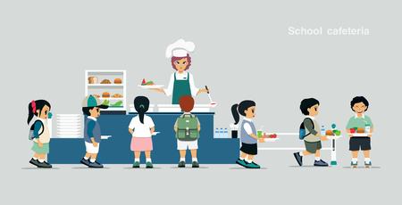 학생들은 학교 구내 식당에서 음식을 받기 위해 줄을 서 있습니다.