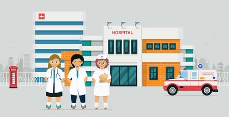 Doctor in front of hospital with emergency ambulance Illustration