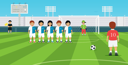 opposing: Football free kick kicker with opposing player set up defensive wall. Illustration
