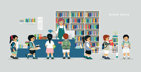 librarians: Children borrow books from librarians in school libraries.