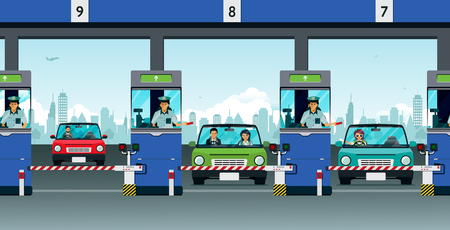 Highway officials collect money from passing cars. Illustration