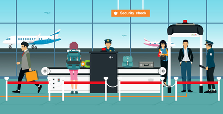 Airport security checkpoint officers are waiting for passengers to check their baggage. 일러스트
