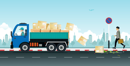 A truck driver makes a parcel fall from a broken car on the street. Illustration