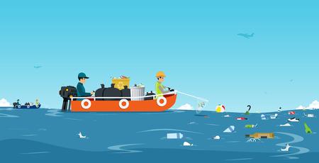 Werkers op het schip verzamelen vuilnis in de zee met de lucht als achtergrond.