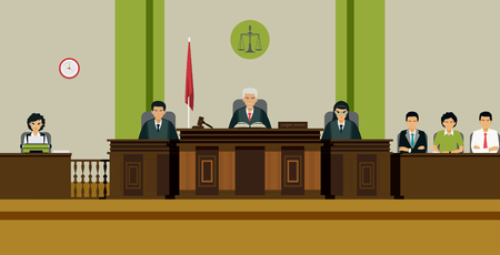 De rechter en de jury zitten op de troon in de rechtszaal. Stock Illustratie