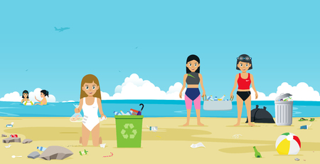 Girls in swimsuit are helping to collect garbage on the beach. Illustration