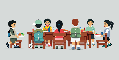 child sitting: Male and female students are sitting at the table with lunch. Illustration
