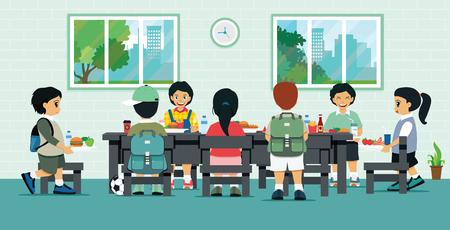 Studenten hebben lunch in de cafetaria van de school.