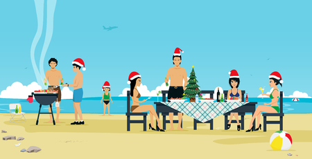 People take the family to celebrate Christmas at the beach.