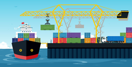 Ports with cargo ships and containers work with crane. Illustration