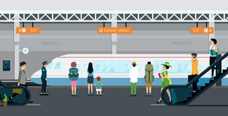 La gente baja las escaleras para viajar en metro.