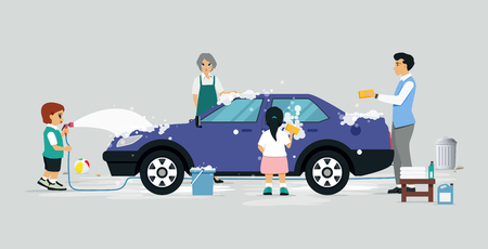 Family members are having fun with their car wash.
