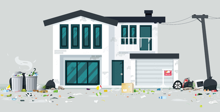 A deserted house full of trash with a gray backdrop. Stock Illustratie