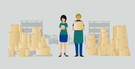 Employees who work in a warehouse Illustration