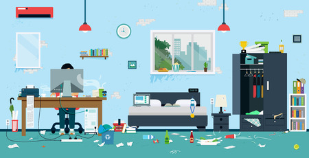 The workplace of freelance is cluttered and dirty. Stock Illustratie