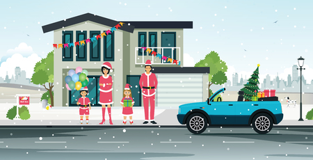 The santa cross family with a house on a snowy day vector illustration
