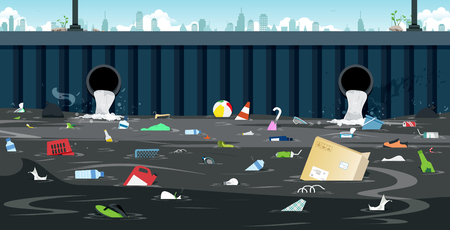 Tubo di drenaggio con rifiuti sporchi in città.