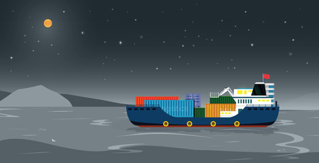 Sea transport ship at night with the moon. Vector illustration.