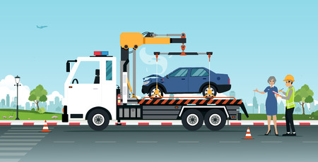 Roadside Assistance with Insurance Company Employees Get a Car to Repair. Illustration