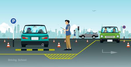 Driving school teachers are testing student car driving. Stock Illustratie