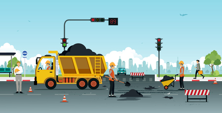 Workers are repairing road surfaces with traffic lights. Vectores