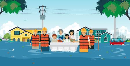 Zespoły ratownicze pomagają dzieciom i kobietom wyjść z powodzi.