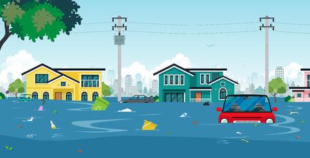 Inondazioni ed automobili della città con immondizia che galleggia nell'illustrazione di concetto dell'acqua.