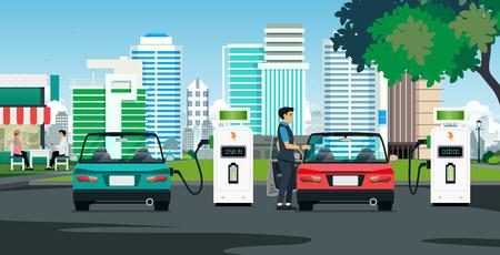 De elektrische auto laadt het gebouw op met een achtergrond. Vector Illustratie