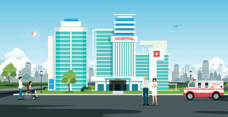 Doctor and nurse in front of hospital with ambulance Ilustracja
