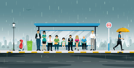 People are waiting at the bus stop when it rains.