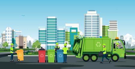 노동자들은 배경 건물이있는 쓰레기 트럭으로 일하고 있습니다. 벡터 (일러스트)