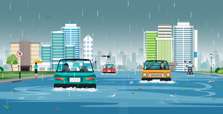 Cars are running on flooded streets in the city. Ilustracja