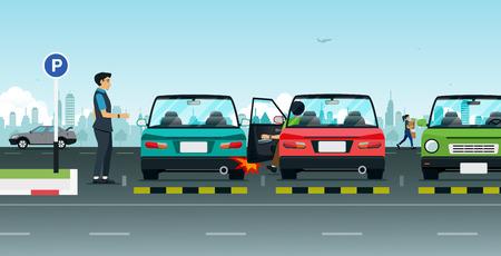 Ein Unfall des Fahrers öffnet die Autotür. Vektorgrafik