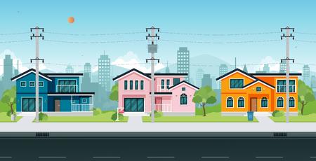Stadthäuser mit Strommasten und Kabel auf der Straße. Vektorgrafik