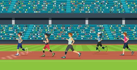 La course des athlètes handicapés a une tribune en toile de fond.