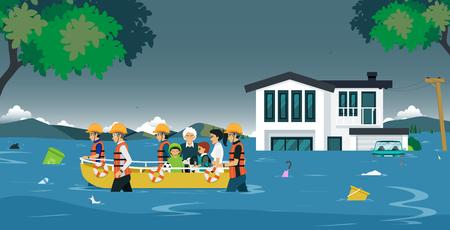 L'équipe de secours a amené le bateau pour aider les victimes des inondations.