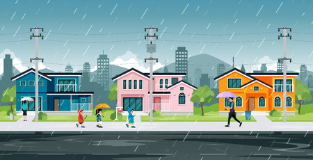 People and school children are walking home in the rain. 版權商用圖片 - 107596648