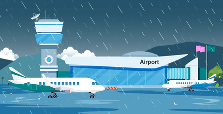Rain flooded the runway until the plane could not fly.