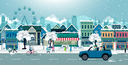 Families are driving snow covered cars in the city. Illustration