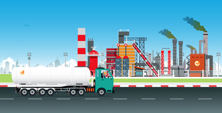 Oil Truck Driver with Refinery as a Backdrop