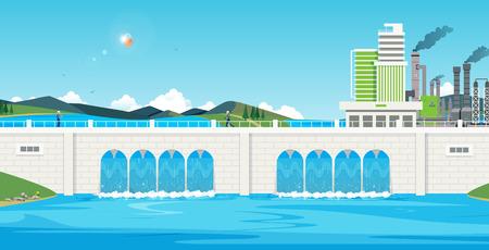 Les ingénieurs étudient le système d'eau libre du barrage.