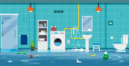 Flood in the toilet caused by broken pipes. Illustration