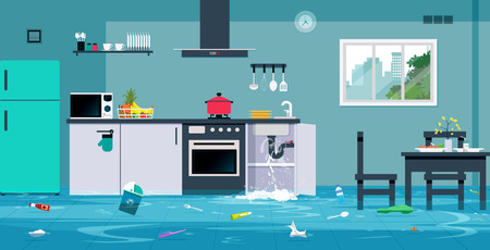 Flood in the kitchen caused by leaking water pipes.